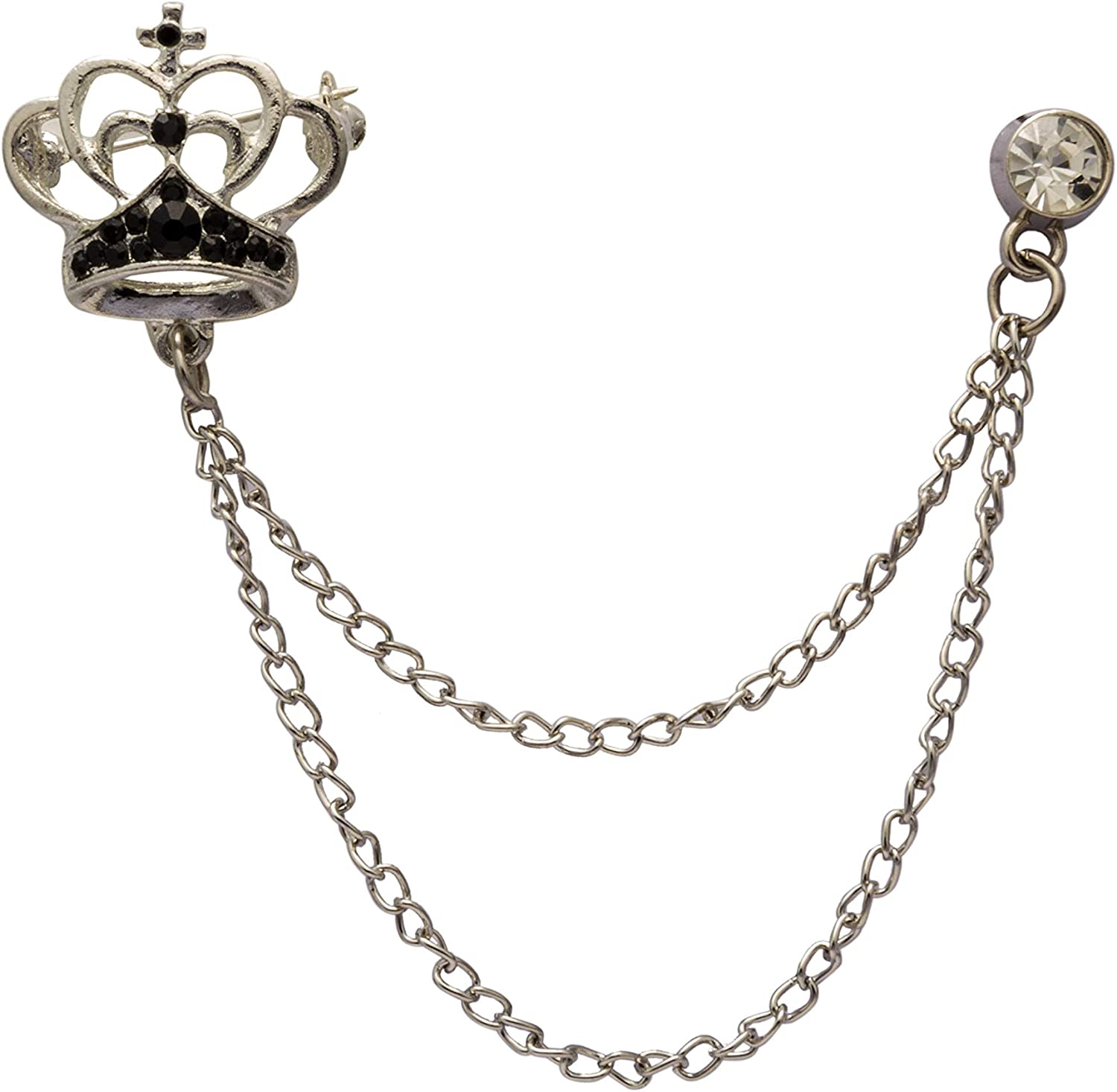 an KINGPiiN Lapel Pin for Men Elegant Silver Crown with Black Crystal and Hanging Chain Lapel Pin Brooch Suit Stud, Shirt Studs Men's Accessories