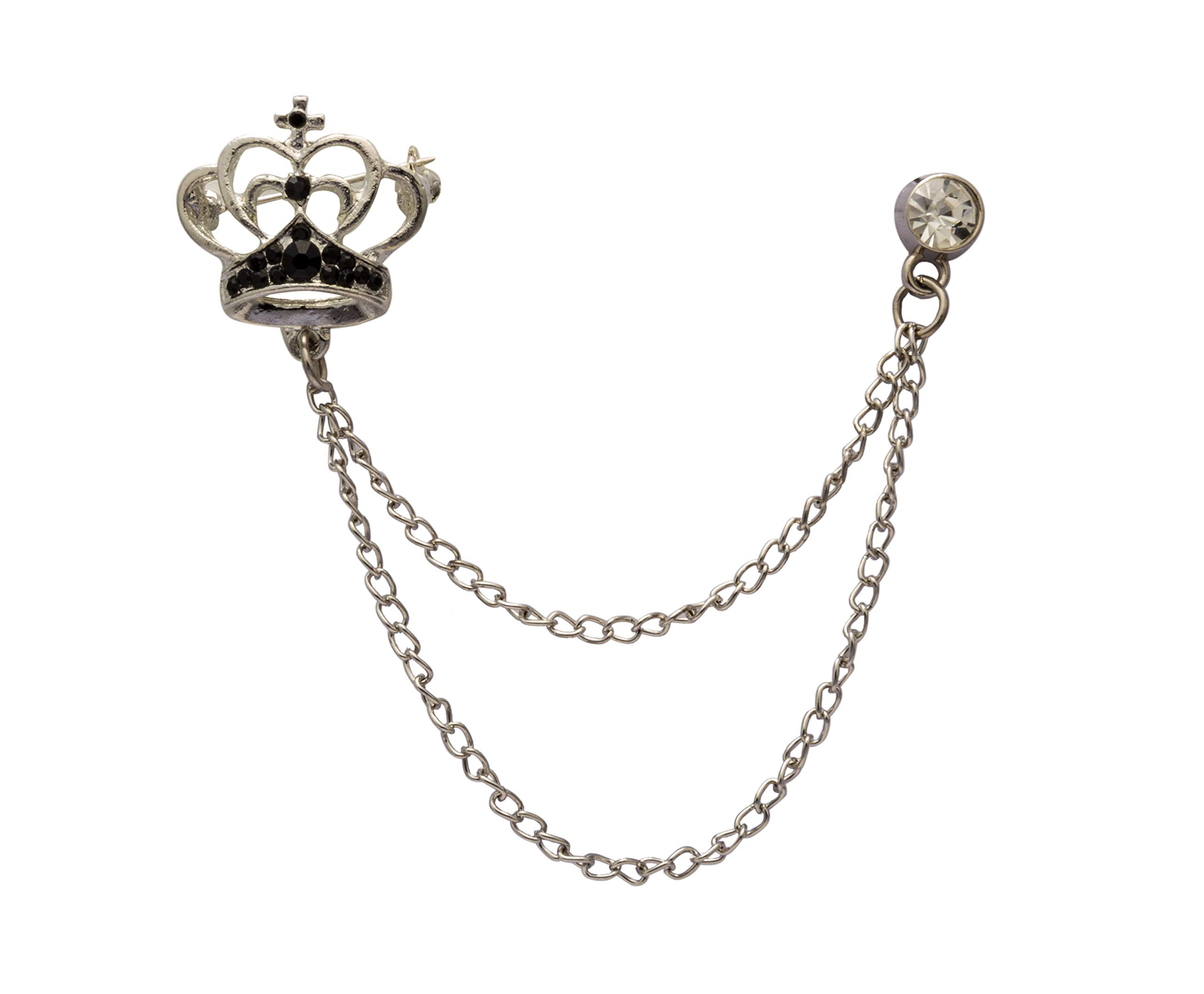Knighthood Elegant Silver Crown With Black Crystal and Hanging Chain Lapel Pin Brooch for Men by Knighthood