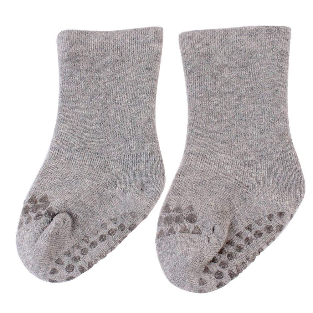 Baby Boys Girls Winter Slipper Socks Anti-slip Blue Striped Fox 0-3 Years