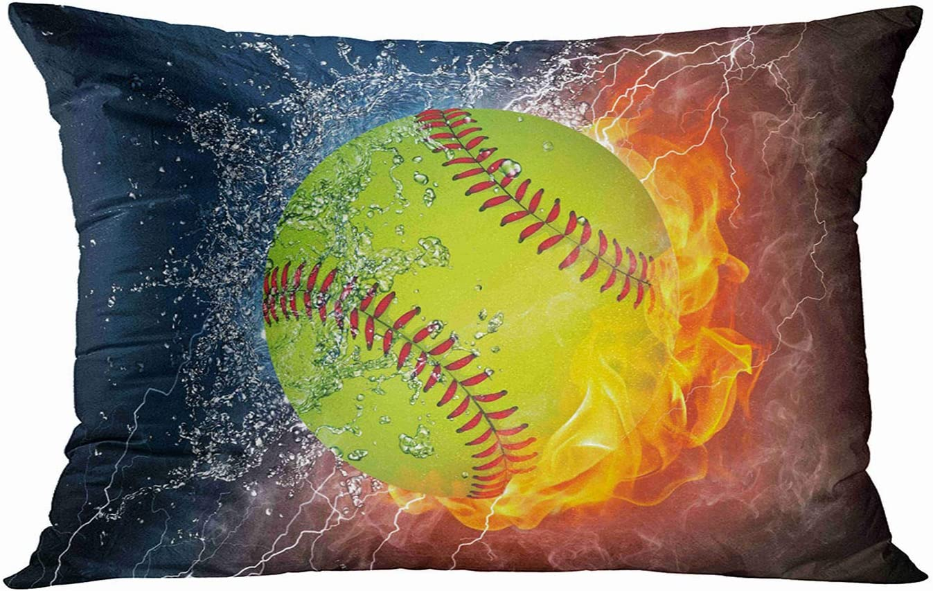 Tarolo Decorative Pillow Cover Case Ice and Fire Softball Art Water and Flame Throw Pillow Cases Covers Home Decor Bedding Pillowcase 20x30 Inches Two Sided Print Pillowcases