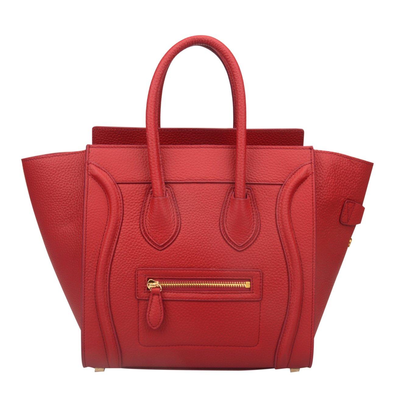 Ainifeel Women's Genuine Leather Smile Top Handle Handbag Purse (Medium, Claret)