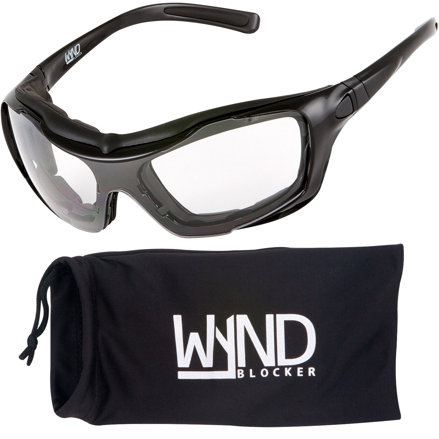 WYND Blocker Large Motorcycle Riding Glasses Extreme Sports Wrap Sunglasses, Black, Clear