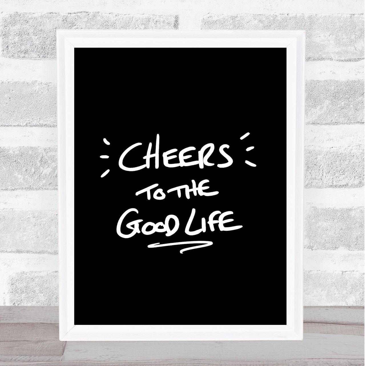 Amazon com cheers to good life quote print black white office products