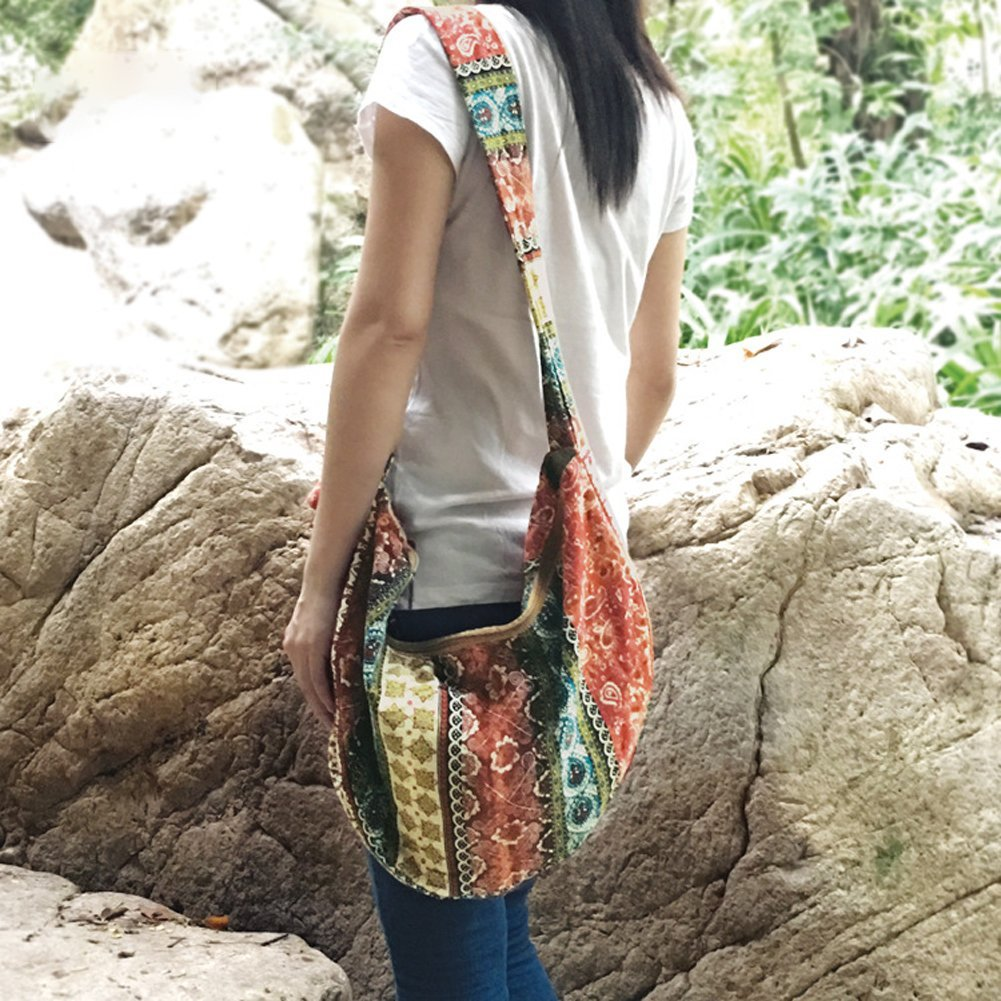 KARRESLY Large Bohemian Hippie Thai Top Zip Handmade Hobo Sling Crossbody Bag Purse Paisley Print with Adjustable Strap(6-856) by KARRESLY (Image #6)