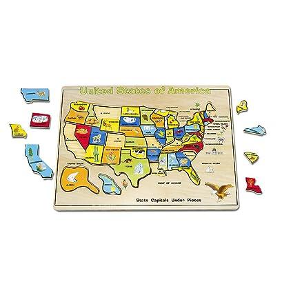 Amazon Com Melissa Doug Large Usa Map Puzzle Toys Games