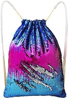 Basumee Sirena Paillettes Borsa Reversibile Sequin Coulisse Zaino Glittering Paillettes Ballo Borsa da Palestra Ragazze Donne Bambini, Bluish Violet/Silver, 45 * 35CM Grlawn-EU LK-BAG01403@#GRLA