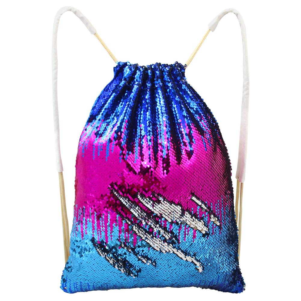 Basumee Mermaid Sequin Bag Reversible Sequin Drawstring Backpack Glittering Sequin Dance Bag Gym Bag Girls Women Kids
