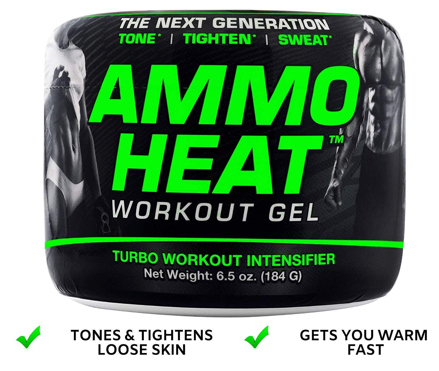 AMMOHEAT 6.5 oz. Thermogenic Fat Melter and Skin Tightening Topical Gel Sweat Intensifier – Tone, Tighten, and Sweat Made with ShapePerfection and Collagen