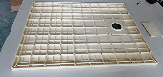 Plato de ducha Roma, gris claro, efecto pizarra SMC, se puede ...