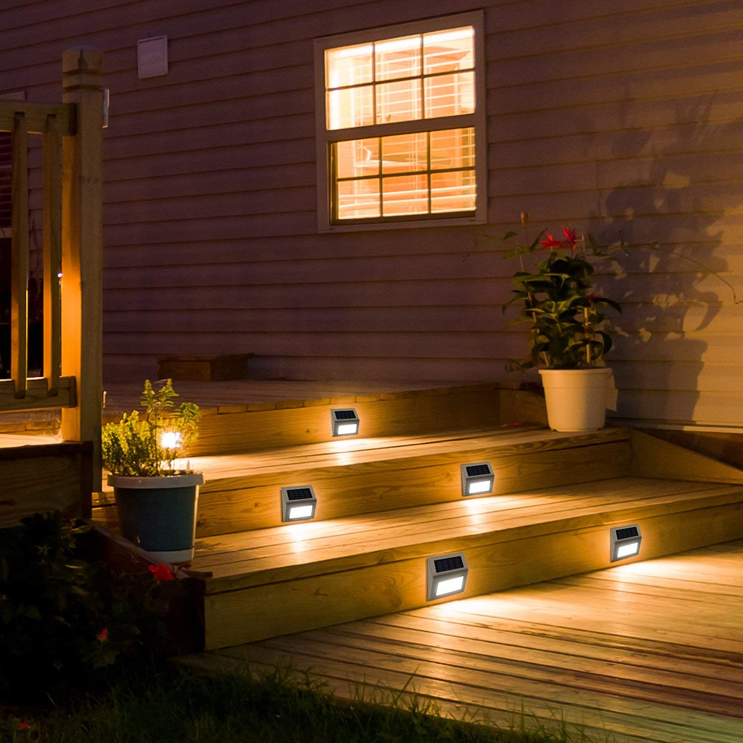 Solar Step Lights JACKYLED Pack of 4 LED Solar Lights Outdoor Weatherproof Solar Powered Light with Larger Battery Capacity for Steps Stairs Decks Fences Paths Patio