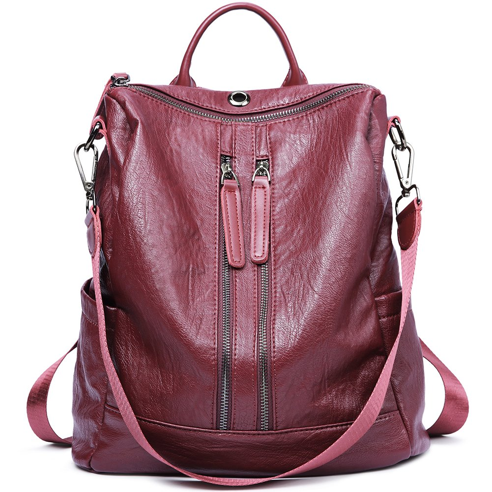 Women Backpack Purse PU Leather Fashion Travel Casual Detachable Ladies Shoulder School Bag wine red