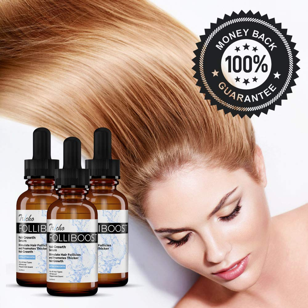 Tricho Labs: Folliboost Hair Growth Serum - Natural Formula with Biotin, AnaGain, Baicapil, Peppermint Oil and More for Thick, Full Hair - 2 oz. - Helps Fight the Signs of Hair Loss - Made in the USA : Beauty