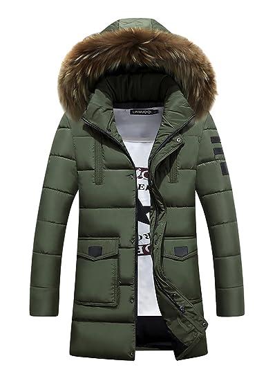 Para hombre Parka chaqueta con capucha con cremallera piel sintética acolchada de invierno Parker Abrigo con capucha, Grün 1, small: Amazon.es: Deportes y ...