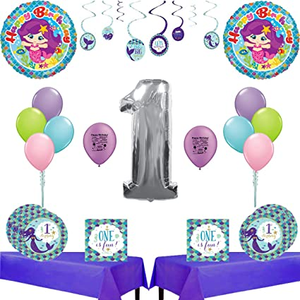 Combined Brands Mermaid 1st Birthday Party Supplies
