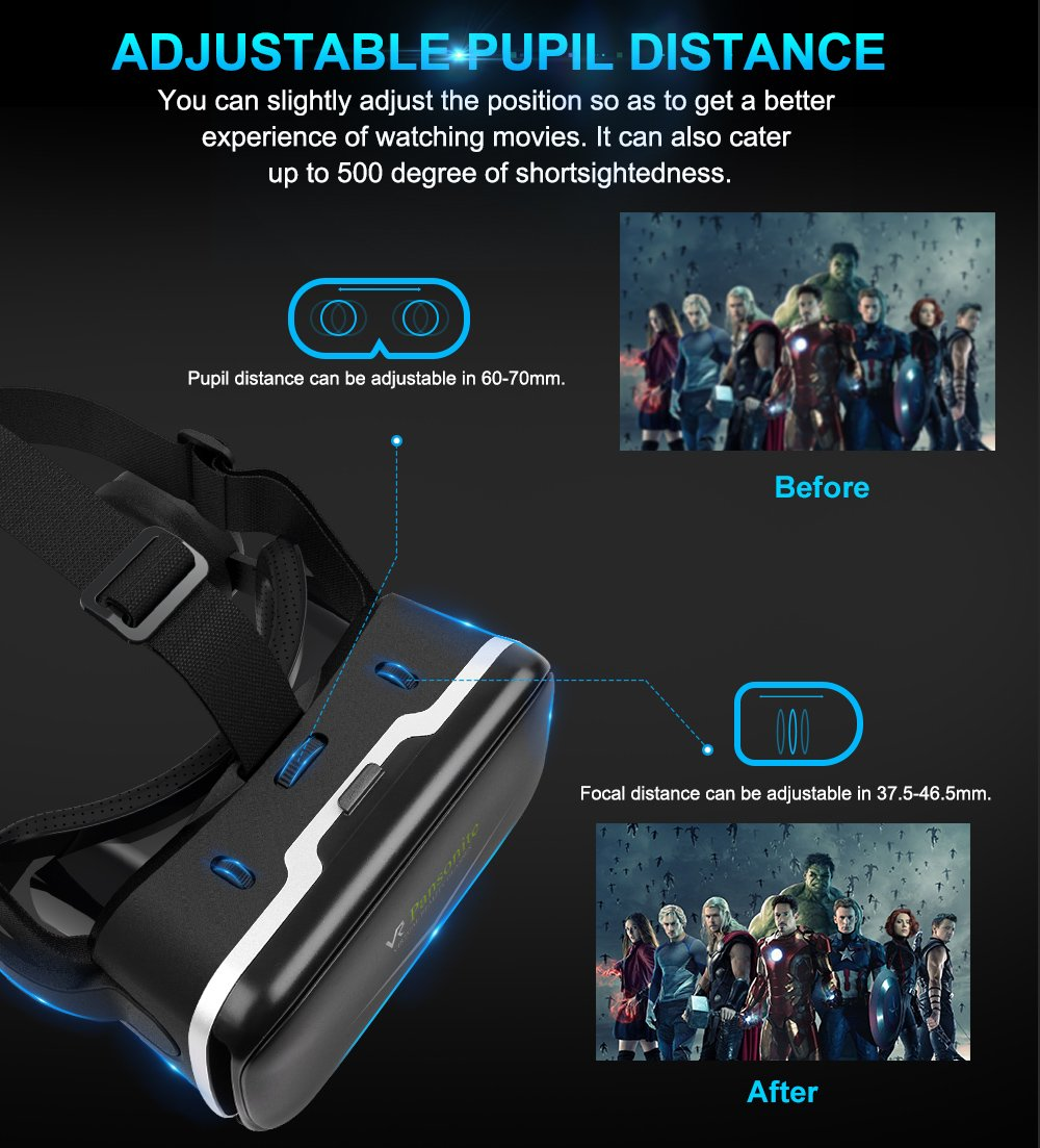 Pansonite Vr Headset with Remote Controller, 3d Glasses Virtual Reality Headset for VR Games & 3D Movies, Eye Care System for iPhone and Android Smartphones (Sb-black) by Pansonite (Image #5)
