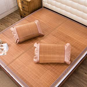 AMYDREAMSTORE Printed Carbonized Bamboo Sleeping mat Mattress Topper pad Ice Bamboo Mat Folding Summer Cooling mat-C 1.52m(59x79inch)