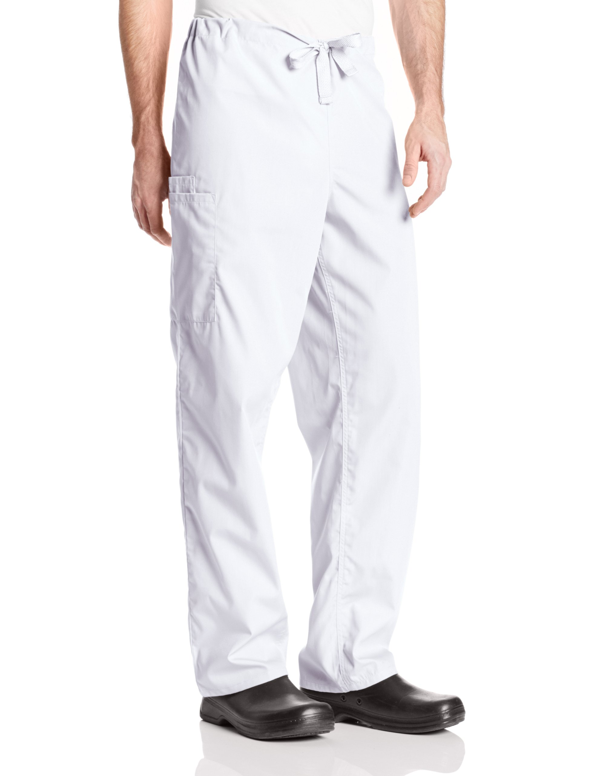 Cherokee Big Originals Unisex Drawstring Cargo Scrubs Pant, White, X-Large Tall by Cherokee