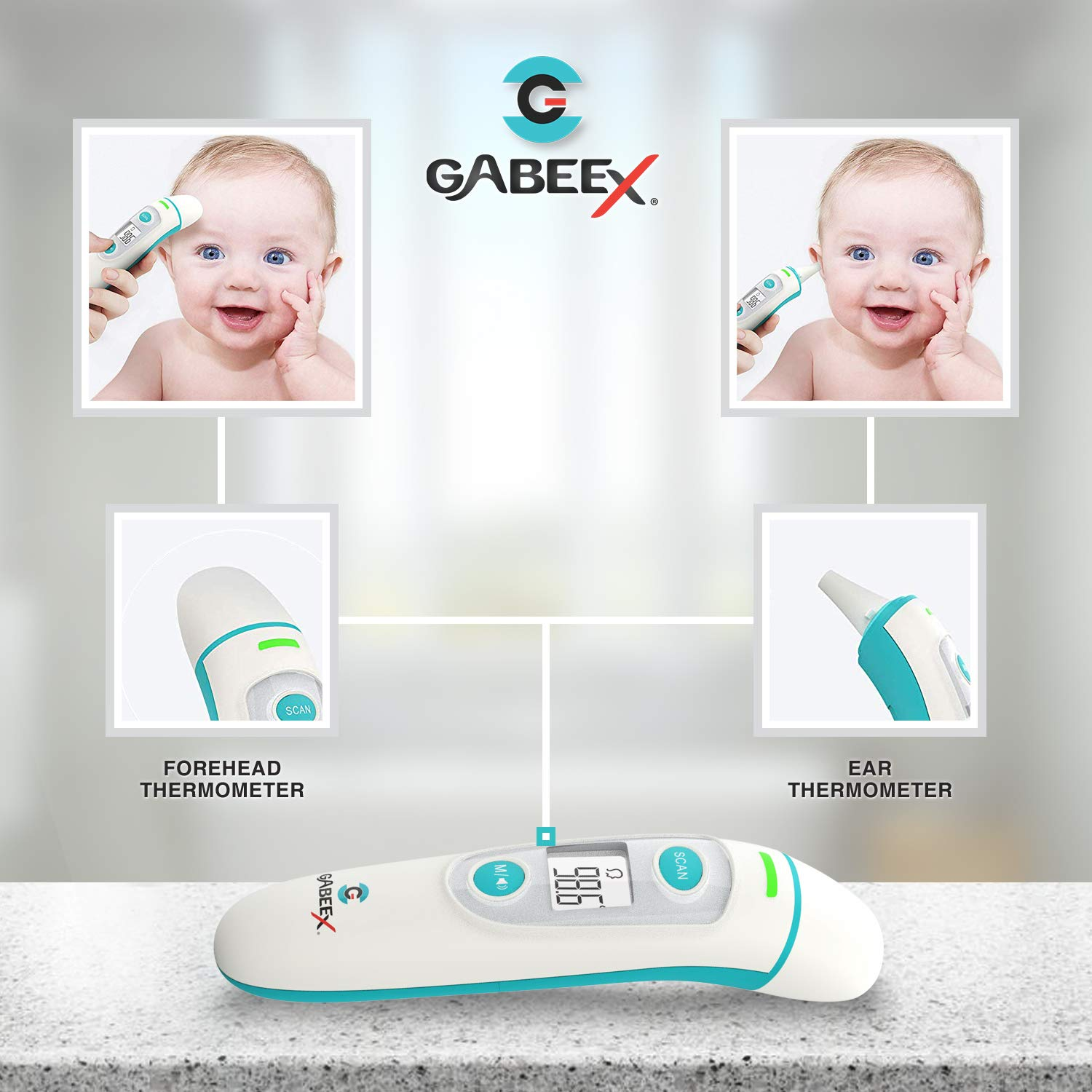 Amazon.com : 2019 Gabeex Best Infrared Digital Thermometer (Termometro)- Forehead and Ear- Infrared Lens Technology- Dual Mode Fahrenheit/Celsius- FDA ...