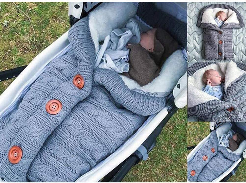 sac de couchage pour b/éb/é de 0 /à 12 mois Couverture demmaillotage pour nouveau-n/é couverture /épaisse et chaude en tricot pour poussettes pour nouveau-n/é