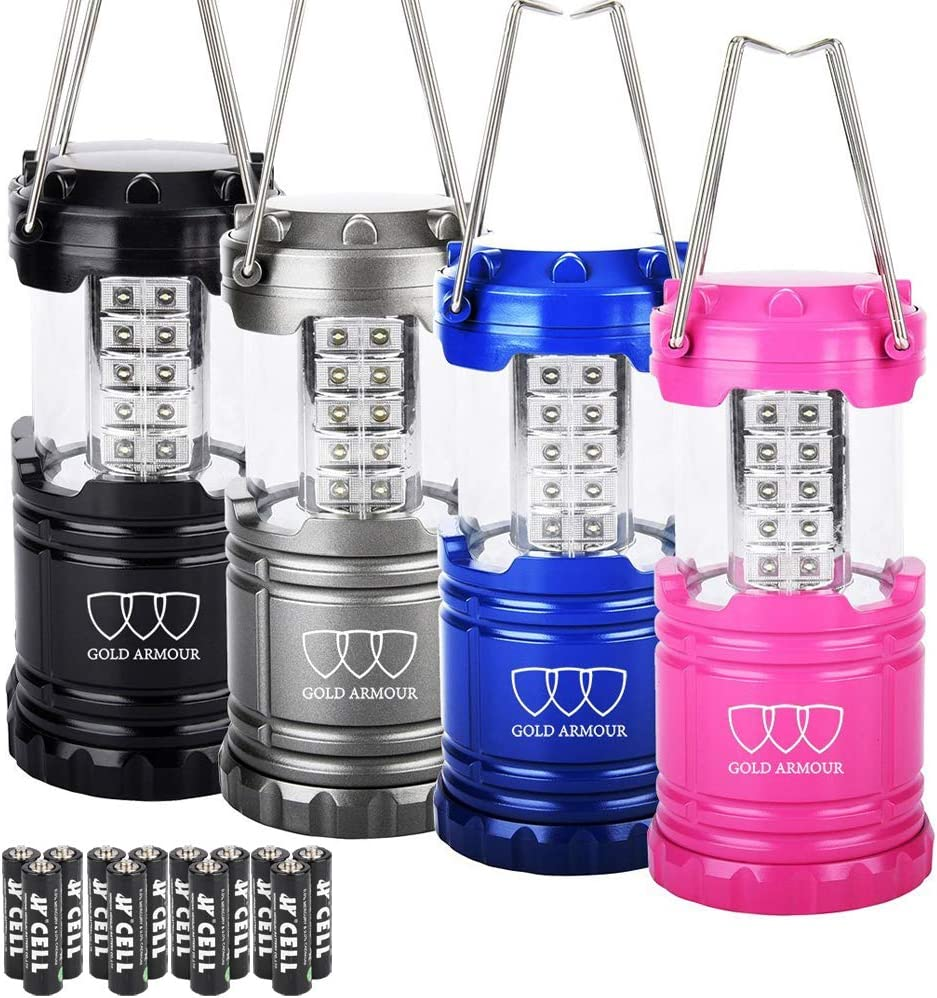 Gold Armour 4 Pack LED Camping Lantern Portable Flashlight with 12 aa Batteries - Survival Kit for Emergency, Hurricane, Power Outage Great (Multicolor): Sports & Outdoors