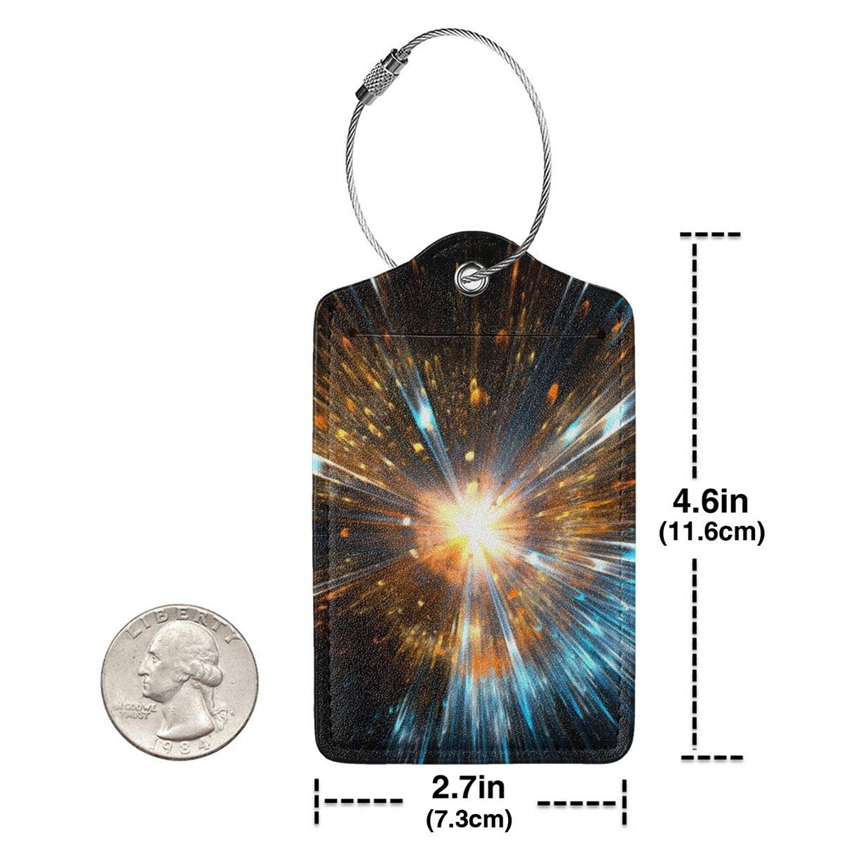 Lucaeat Energy Particles Universe Background Luggage Tag PU Leather Bag Tag Travel Suitcases ID