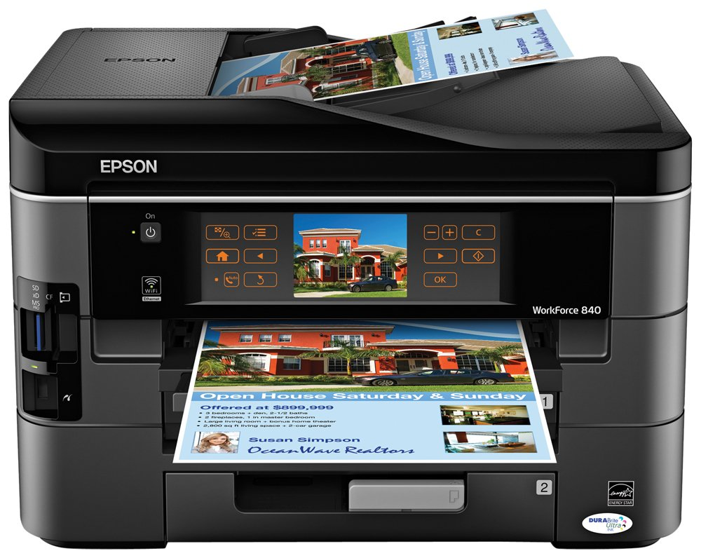 Amazon.com: Epson WorkForce 840 Wireless All-in-One Color Inkjet Printer,  Copier, Scanner, Fax (C11CA97201): Electronics