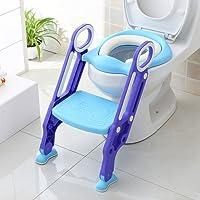 BAMNY Riduttore WC per Bambini con Scaletta Pieghevole, Kit Toilette Trainer Step Up con Cuscino Tenero Modello Universale