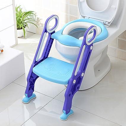 Riduttore Wc Con Scaletta.Bamny Riduttore Wc Per Bambini Con Scaletta Pieghevole Kit Toilette Trainer Step Up Con Cuscino Tenero Modello Universale Azzurro