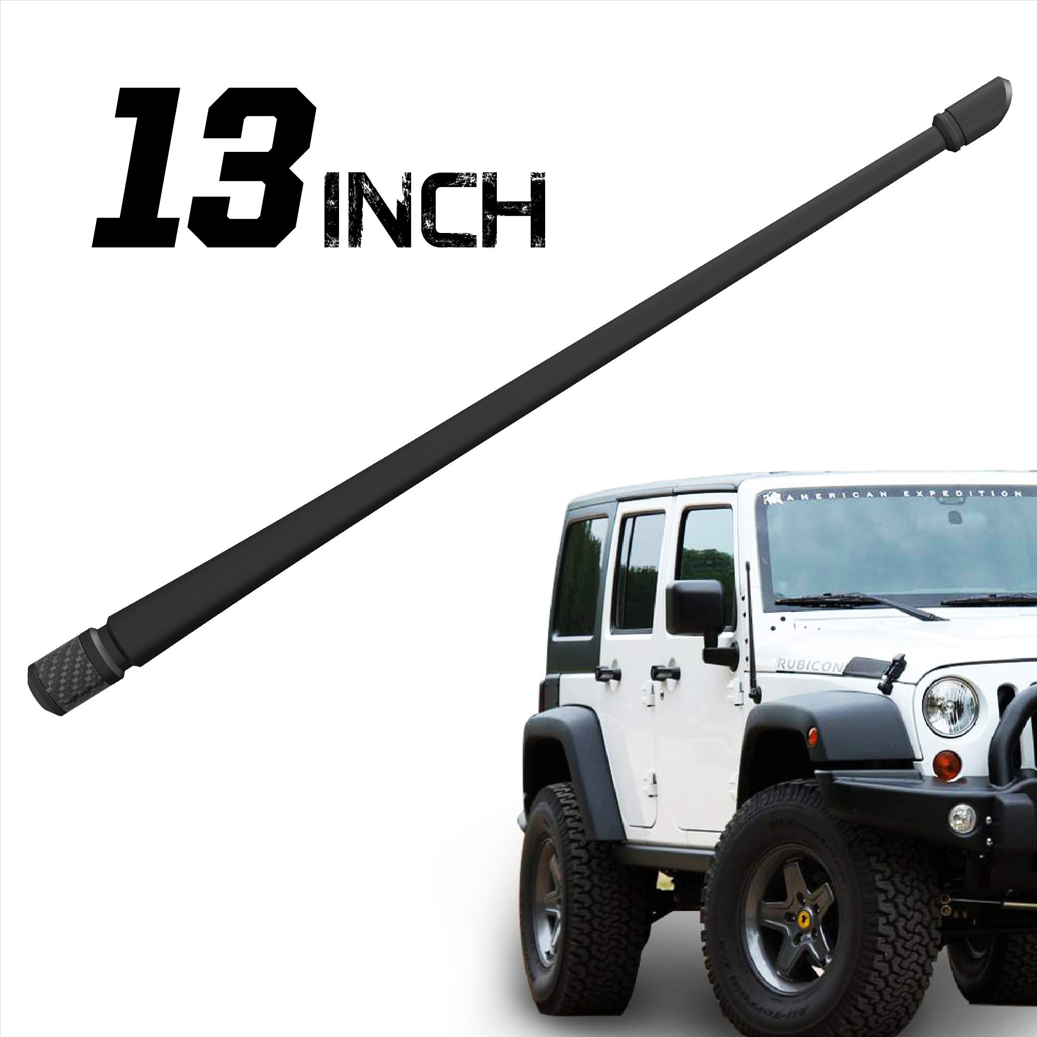 Rydonair Antenna Compatible with Jeep Wrangler JK JKU JL JLU Rubicon Sahara (2007-2019) | 13 inches Flexible Rubber Antenna Replacement | Designed for Optimized FM/AM Reception by RYDONAIR