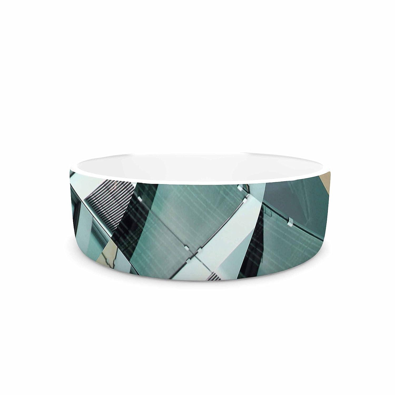 KESS InHouse Tiny September Diagonal Arrows Beige bluee Photography Pet Bowl, 4.75  Diameter