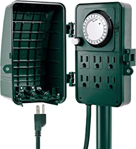 iPower HIPOWERSTRIPOD6T Outdoor 24-Hour Mechanical Power Strip Timer Garden Yard Stake Socket, 6 Grounded Outlets, Christmas Lights Decoration Lamps