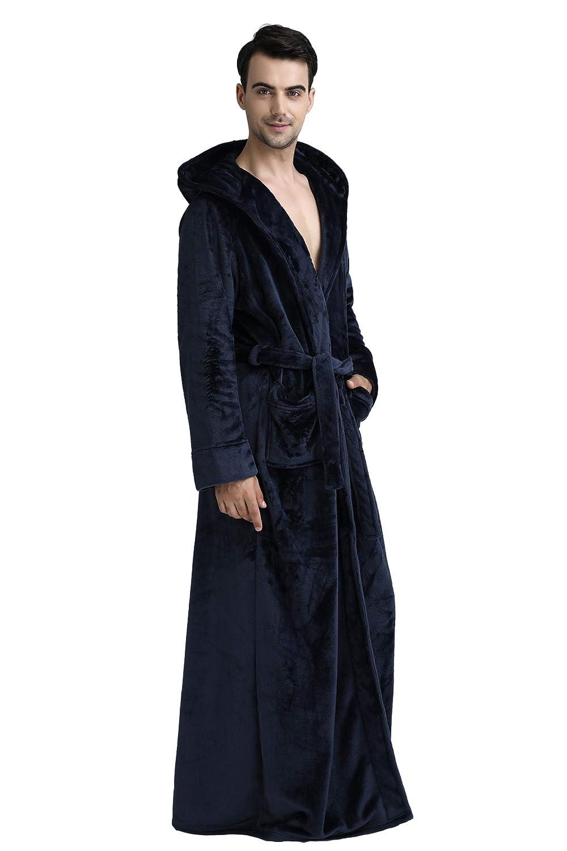 Cahayi Plush Thick Bathrobe Women Men Unisex Hooded Robe Sleepwear Housecoat CABR1706
