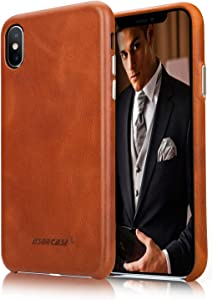 "JISONCASE iPhone Xs Leather Case, Genuine Leather iPhone X Case with Ultral Thin Hard Back & Wireless Charging Compatible,Shockproof Protective Cover Case for Apple iPhone X 10 Xs 5.8""- Brown"