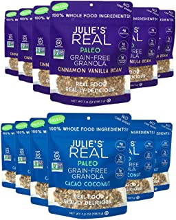 product image for Julie's Real Paleo Grain-Free Granola, Variety Pack - Cacao Coconut and Cinnamon Vanilla Bean - Pack of 12