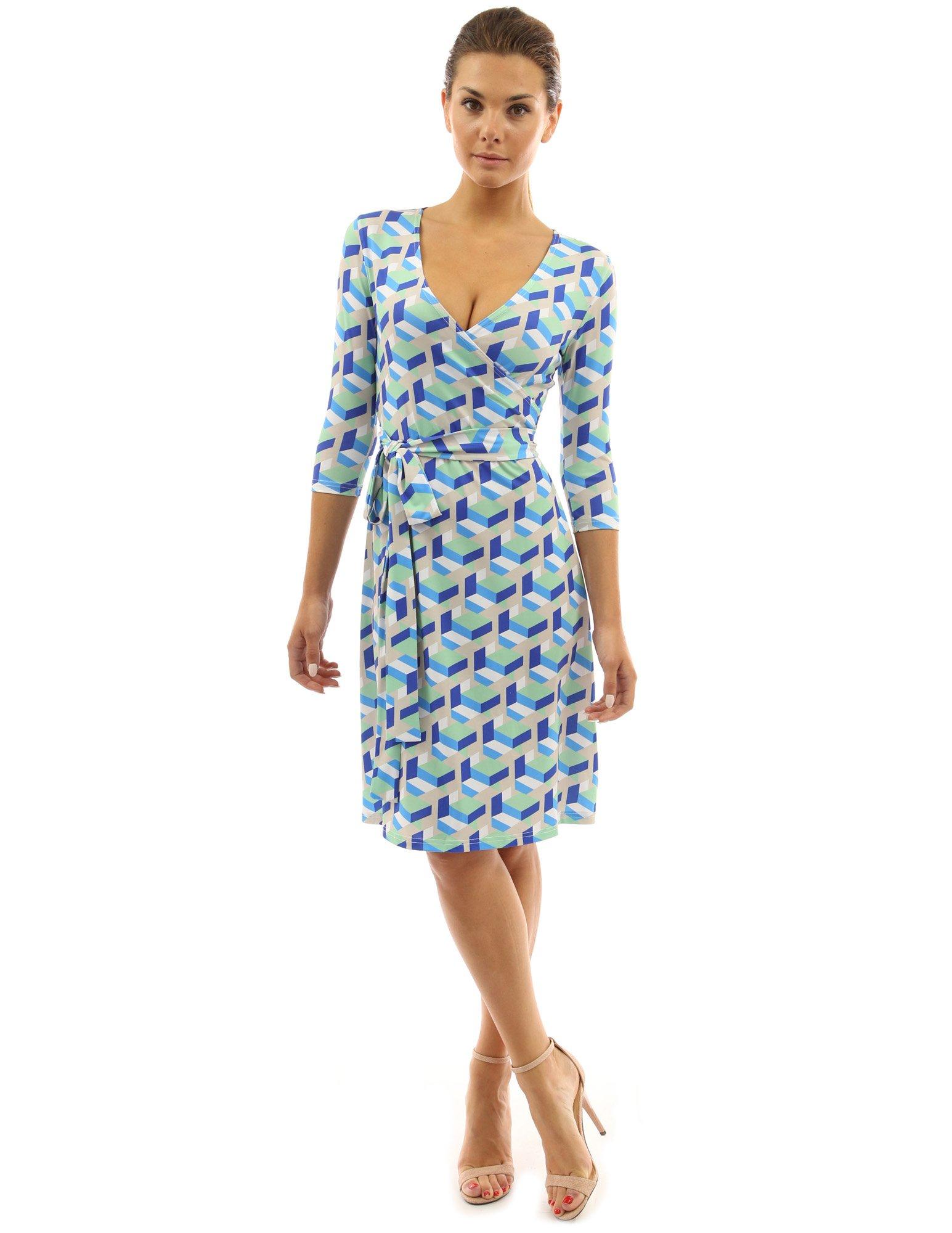 PattyBoutik Women Faux Wrap A Line Dress (Blue and Green X-Large)