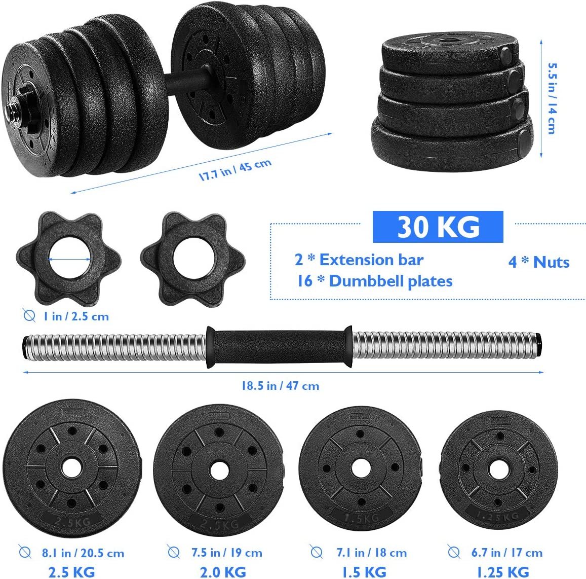 Adjustable Weights Dumbbells Set Barbell Fitness Dumbbell for Body Workout (30KG/66LB)