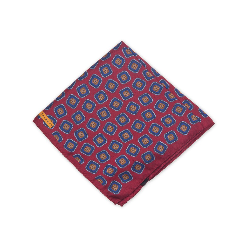Robert Talbott Red And Blue Fancy Silk Pocket Square