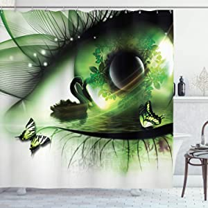 "Ambesonne Abstract Shower Curtain, Abstract Natural Artwork with a Swan Floating in Eye and Flying Butterflies, Cloth Fabric Bathroom Decor Set with Hooks, 70"" Long, Green White"