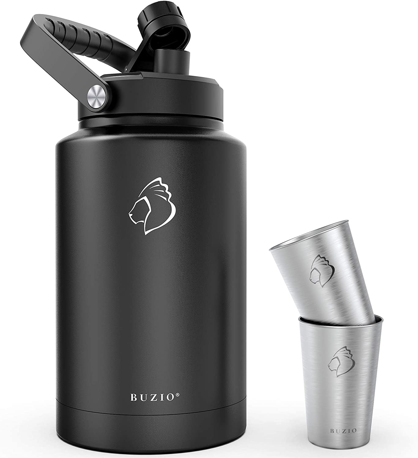 BUZIO One Gallon Vacuum Insulated Jug, 18/8 Food-Grade Stainless Steel 128 oz Water Bottle Comes with Two Stainless Steel Cups Thermo Canteen Mug