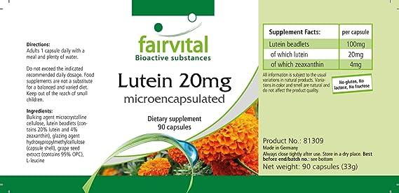La luteína 20mg - A GRANEL durante 3 meses - ALTA DOSIS - 90 cápsulas - microencapsulado: Amazon.es: Salud y cuidado personal