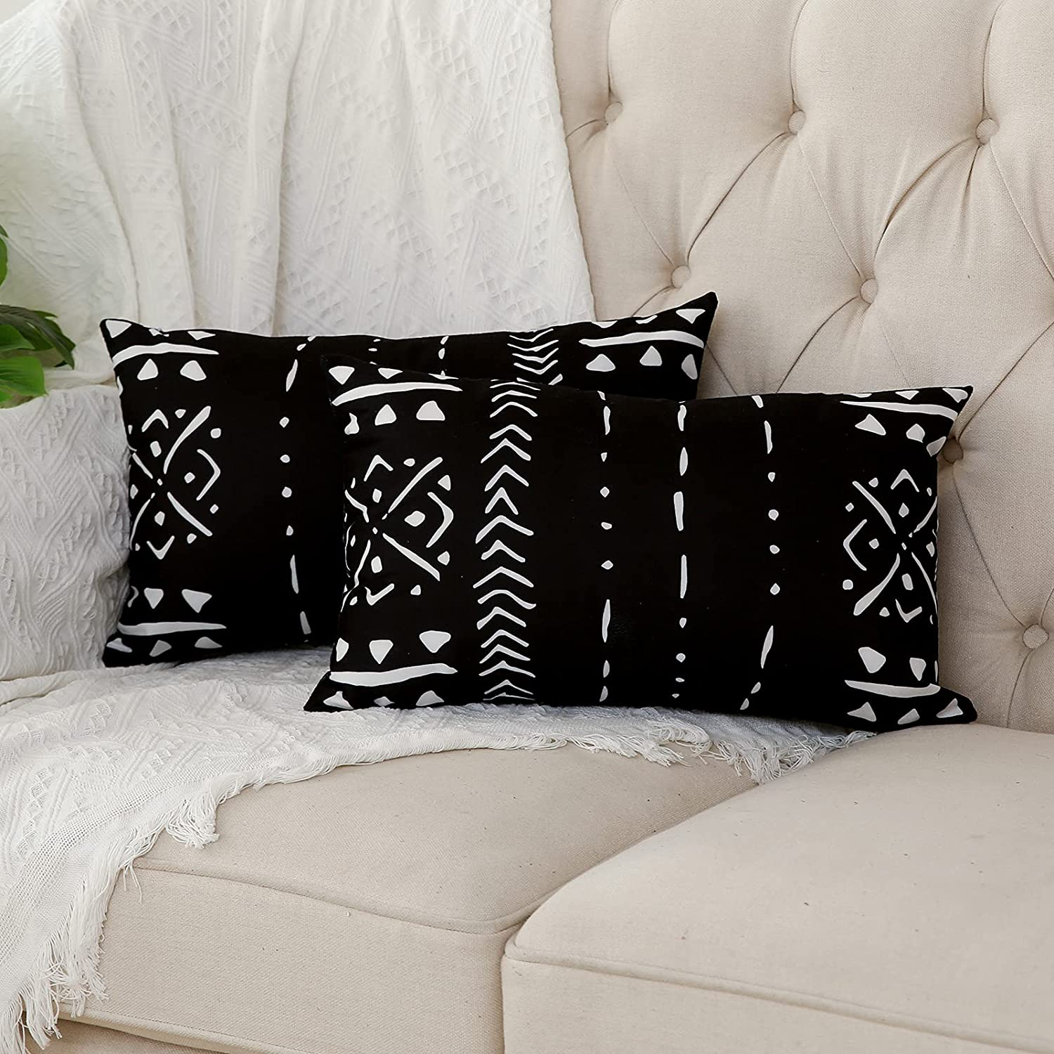 Kiuree Set of 2 Black and White Pillow Covers 12 x 20 inches Boho Aztec Tribal Polyester Blend Lumbar Decorative Throw Pillow Covers for Sofa Couch Bed Decor(Black)