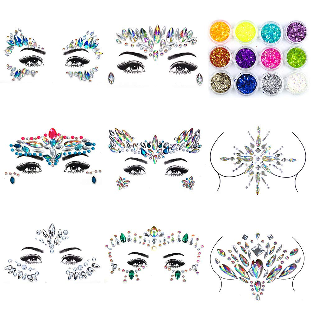 Bergwin Face Gems Glitter - 8 Sets Rhinestone Mermaid Face Jewels Breast Body Jewelry Rhinestone Tattoo Crystal Glitter Stickers with 12 Boxes Chunky Face Glitter, Temporary Tattoo Sticker for Festival Party