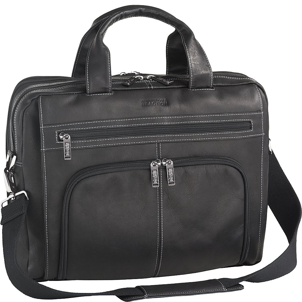 Kenneth Cole Reaction Colombian Leather Double Compartment Expandable Top Zip Computer Case Laptop Briefcase, Black, One Size