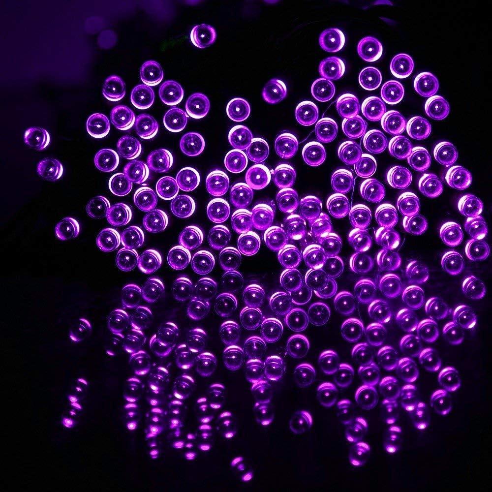 Solar Christmas Fairy Lights, 72ft 200 LED Solar Fairy Lichterketten im Freien wasserdicht Für Gartenparty im Freien Purple