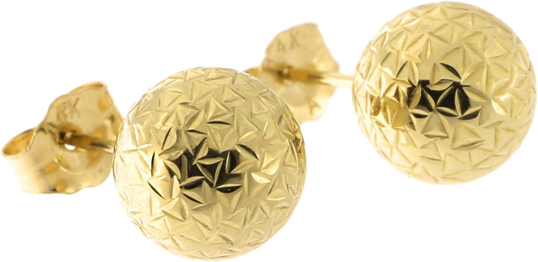 14k Yellow Gold Crystal Cut Ball Stud Earrings