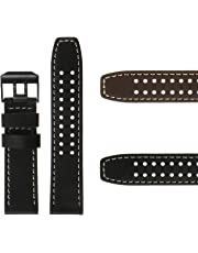 DASSARI Black Genuine Leather Replacement Watch Band Strap with Matte Black Buckle Compatible with Luminox Evo 23mm