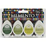 Tsukineko 4-Pack Assortment Memento Dew Drops Fade-Resistant Ink, Greenhouse