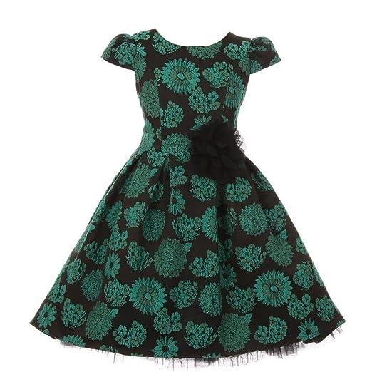 c7bb451e7b14 Amazon.com  Kid s Dream Little Girls Green Floral Print Hi-Low ...