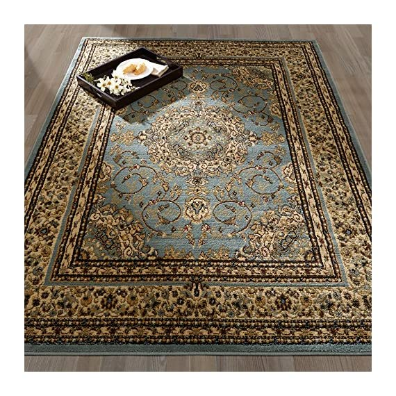 """Ottomanson Royal Collection Area Rug, 5'3""""X7'0"""", Seafoam Oriental Medallion - ROYAL STYLE and SUPERIOR COMFORT to any room with its intricate designs and colors combined with exquisite materials and construction. LONGEVITY and convenient upkeep is ensured with the expert-quality DURABLE construction JUTE-BACKING and BOUND edges for a clean look - living-room-soft-furnishings, living-room, area-rugs - 71RQtfwQL4L. SS570  -"""