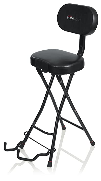 Enjoyable Gator Frameworks Guitar Seat With Padded Cushion Ergonomic Backrest And Fold Out Guitar Stand Holds Both Acoustic And Electric Guitars Squirreltailoven Fun Painted Chair Ideas Images Squirreltailovenorg